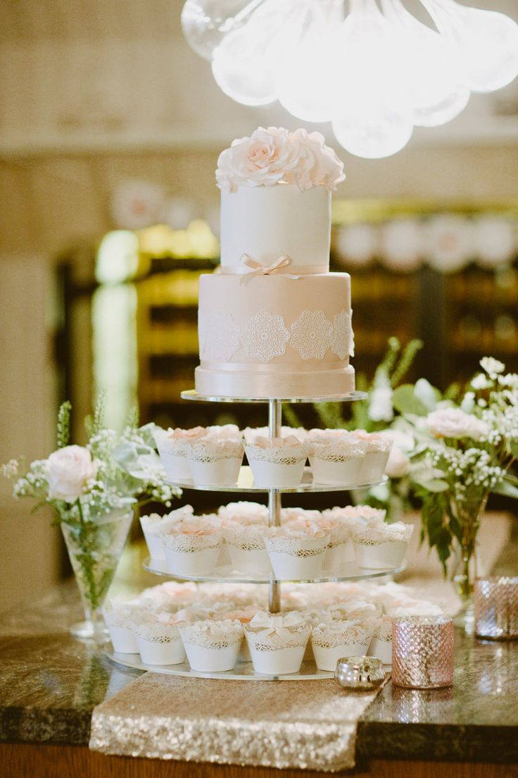 Peach and White Wedding Cake and Cupcake tower