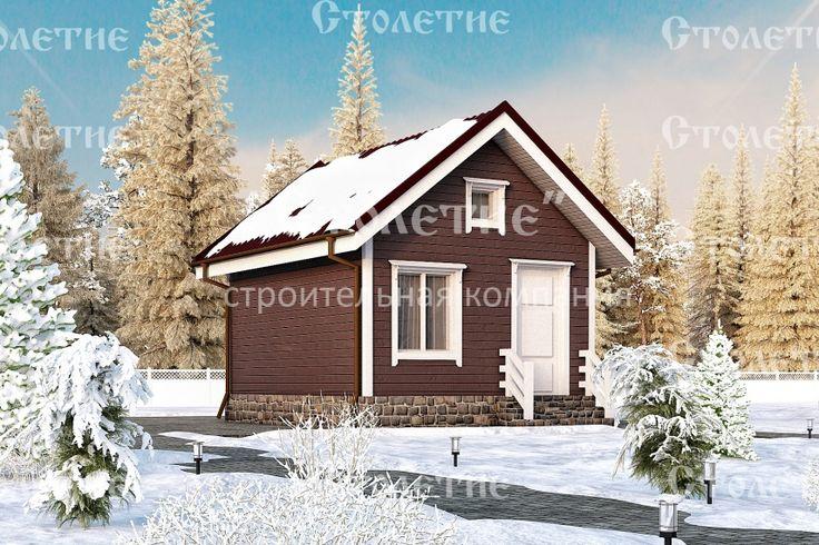 Проект дома ДБ-01 размером 4 на 5 метра в цветом решении Зима