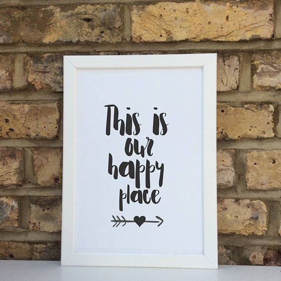 This is our happy place print quote wall prints wall decor home decor print only typography
