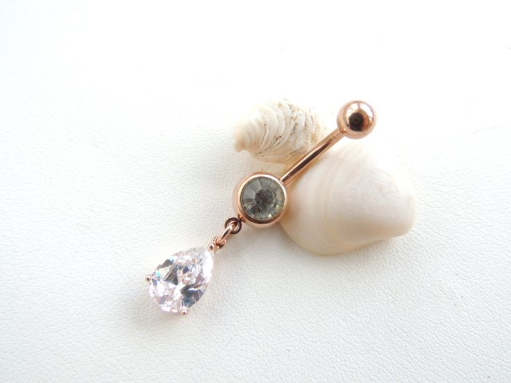 Rose Gold Belly Button Ring, CZ Teardrop Belly Button Ring, Jeweled Navel Ring, Small Navel Ring, Gift Idea, Curved Barbell. 452 by SeductiveBodyWorks on Etsy https://www.etsy.com/listing/216175482/rose-gold-belly-button-ring-cz-teardrop