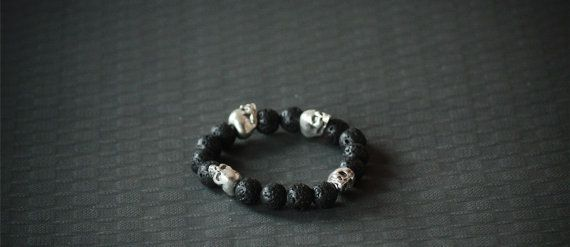 Beaded Fashion Bracelet Chrome Skull Stretchable by BoogeJewellery, $59.00