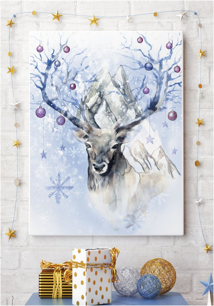 Get it for just £7.80 #reindeer #watercolour #painting #ART print digital download A3 STOCKING FILLER Christmas winter wonderland snow scene illustration painting festive