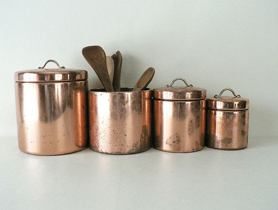 vintage copper metal kitchen canister set cas copper