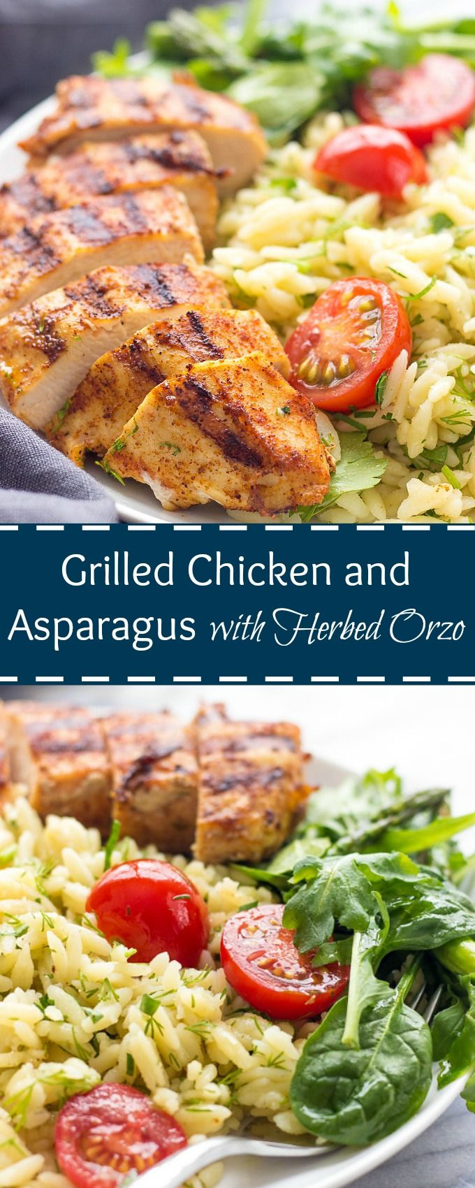 Grilled Chicken And Asparagus With Herbed Orzo via @https://www.pinterest.com/lavenderandmcrn/