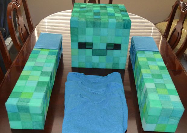 "Easy ""No Sew"" Soft Minecraft Zombie Costume."
