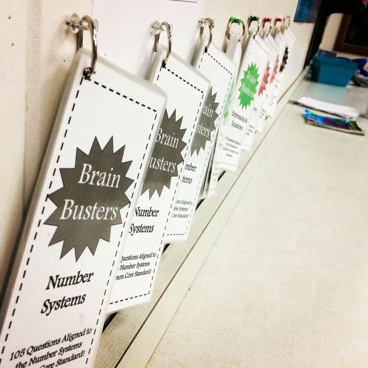 Storage idea for these Math Brain Busters! The Brain Busters include 675 math problems aligned to the Common Core standards for 6th grade math. Includes a set for Number Systems, Ratios & Proportional Relationships, Expressions & Equations, Geometry, Statistics & Probability, and a variety set.