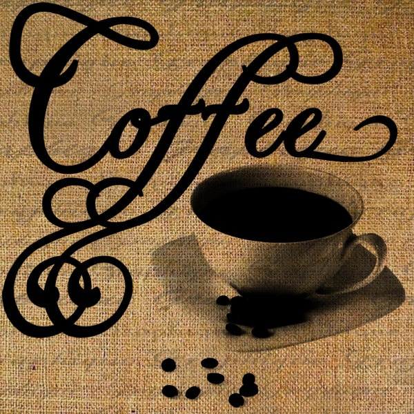 Coffee Cup Word Drink Java Cafe Expresso Brew Digital Image Download Transfer To Pillows Tote Tea Towels Burlap No. 2797. $1.00, via Etsy.