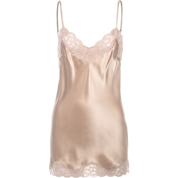 FALCON & BLOOM Romantic Cami Silk Nude // Short silk dress with lace ($65) ❤ liked on Polyvore featuring lacy camisole, silk lace cami, pink lace cami, sexy camisole and pink camisole