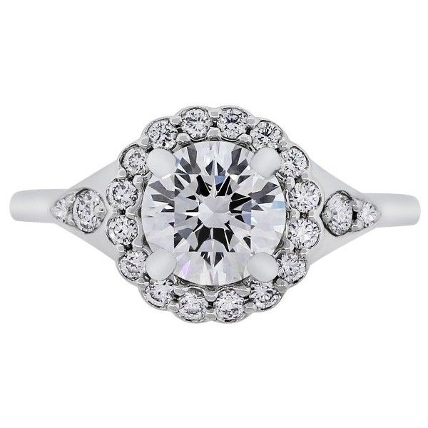 Pre-owned Platinum with 1.34ct Diamond Halo Engagement Ring Size 6.5 (188.960.495 IDR) ❤ liked on Polyvore featuring jewelry, rings, pre owned engagement rings, platinum jewelry, preowned jewelry, pre owned rings and platinum rings