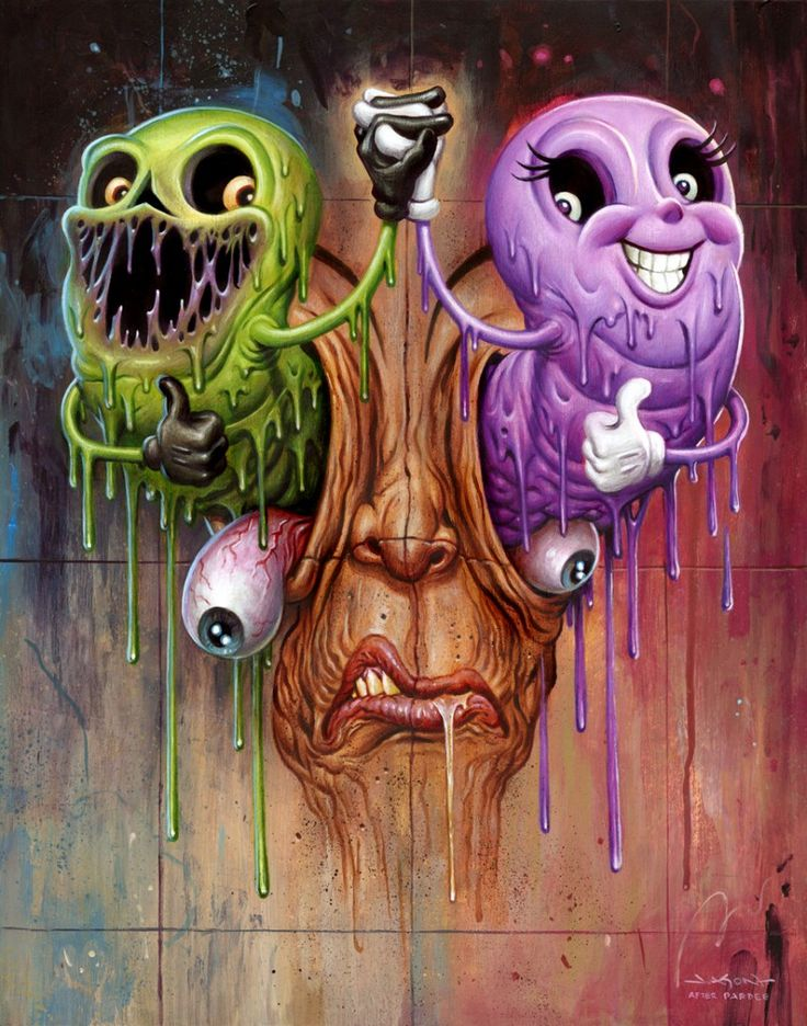 Alex Pardee Collab/Painting I collaborated on with my friend, pop-surreal artist Alex Pardee.
