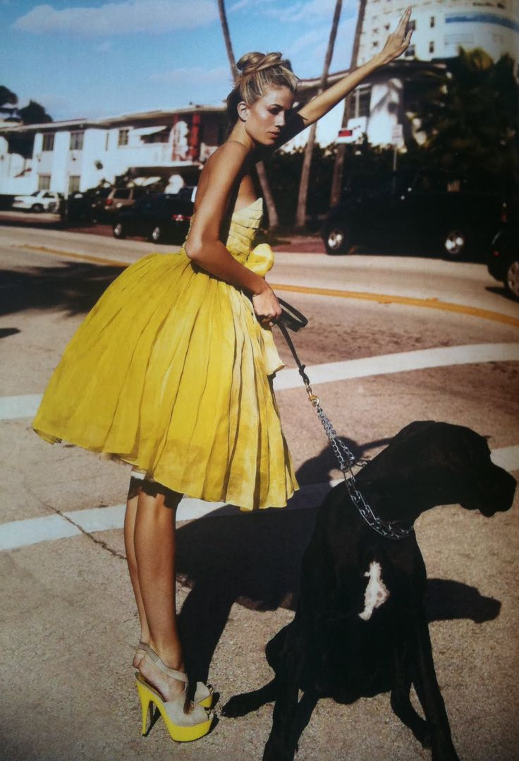 Little yellow cocktail dress + black Great Dane..Terry Richardson? #dog #fashion  Abito da cocktail giallo ed alano