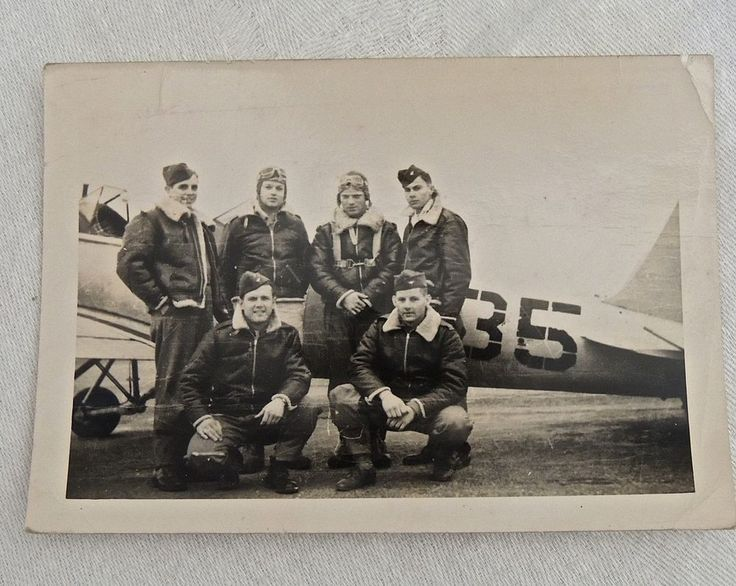 #5  WWII Original Photo PILOTS in Leather FLIGHT JACKETS Nice Condition!