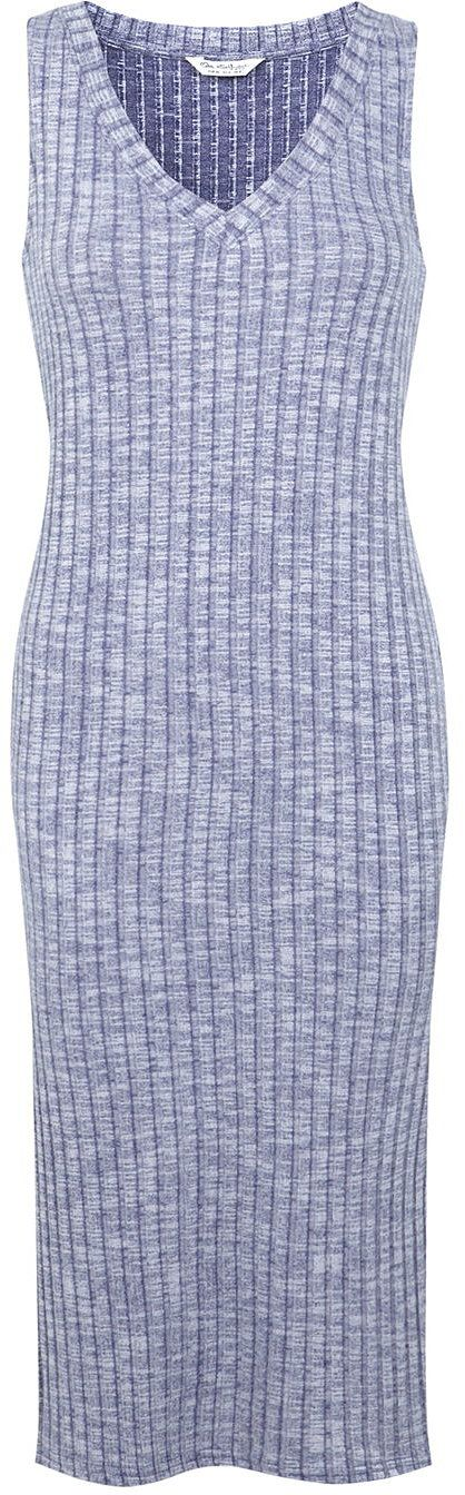 Womens light blue grey rib v neck dress, blue from Miss Selfridge - £10 at ClothingByColour.com