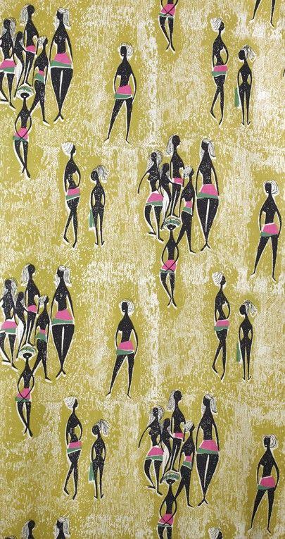 tkanina dekoracyjna drukowana łaźnia, proj. Danuty Paprowicz-Michno, 1958