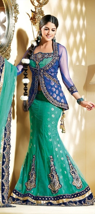 Wedding Lehngas, Faux Georgette, Brocade, Lace, Stone, Sequence, Resham, Blue Color \