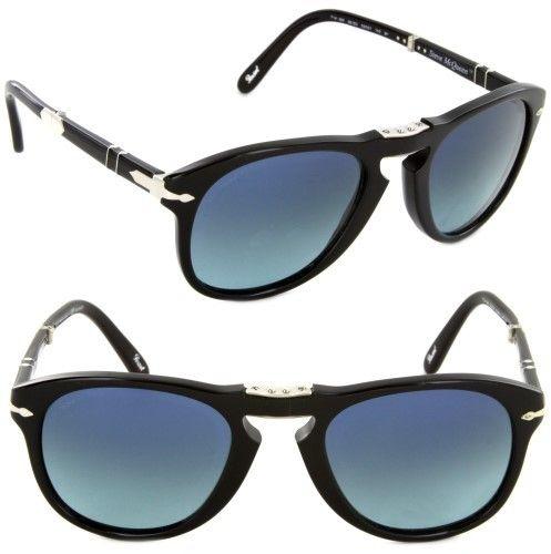 Persol PO714SM 95/S3-52 Steve McQueen Folding Sunglasses Black/Blue Polarized Lens