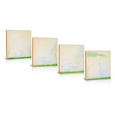 Green Frog Safari Sidekicks 4 Piece Canvas Gallery Wrapped Art - GF0007