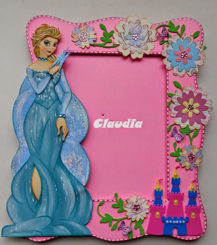 Moldes Princesa Elsa de Frozen Hermoso porta retratos de madera, decorado con la princesa Elsa de Frozen realizada en goma eva y decorado con detalles y fl