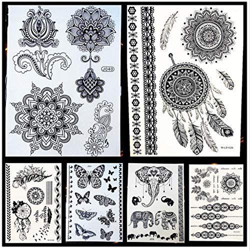 25 dames non toxiques tatouage au henné noir faux lotus fleur de mandala …  Art Corporel