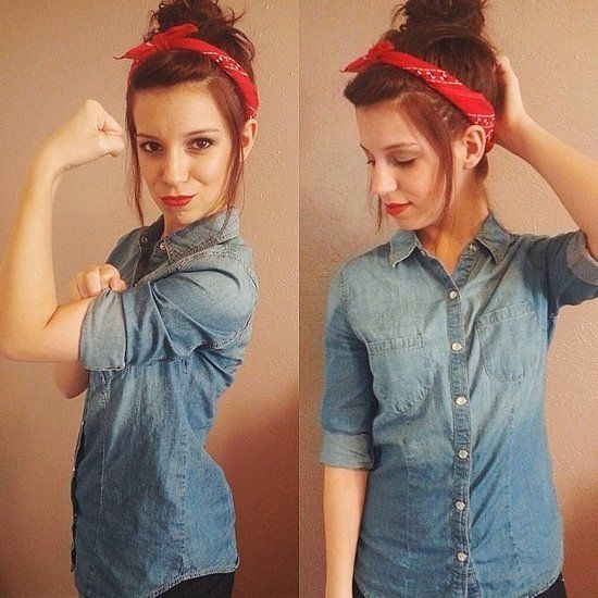 Rosie the Riveter: Dressing up as this feminist icon is easy! A red bandanna and denim shirt are all you need to create this look.