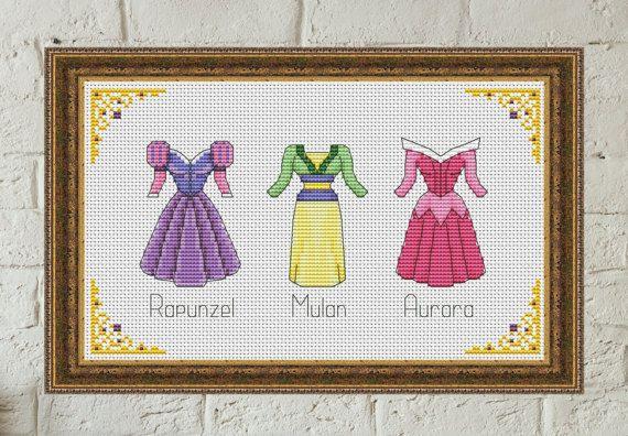 Disney+cross+stitch+pattern+Disney+princess+dress+cross+stitch