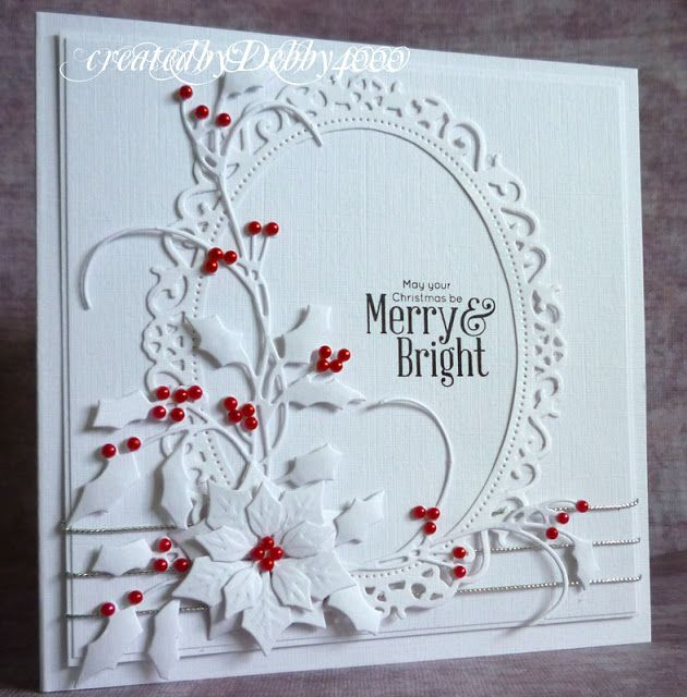 Card by Debby Yates  (110413)  [Penny Black Holly Berries; Spellbinders  Floral Oval, Poinsettia]