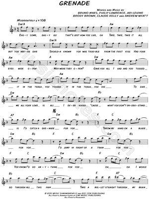 granade by bruno mars cello solo sheet music | Image of Bruno Mars - Grenade Sheet Music - Download & Print