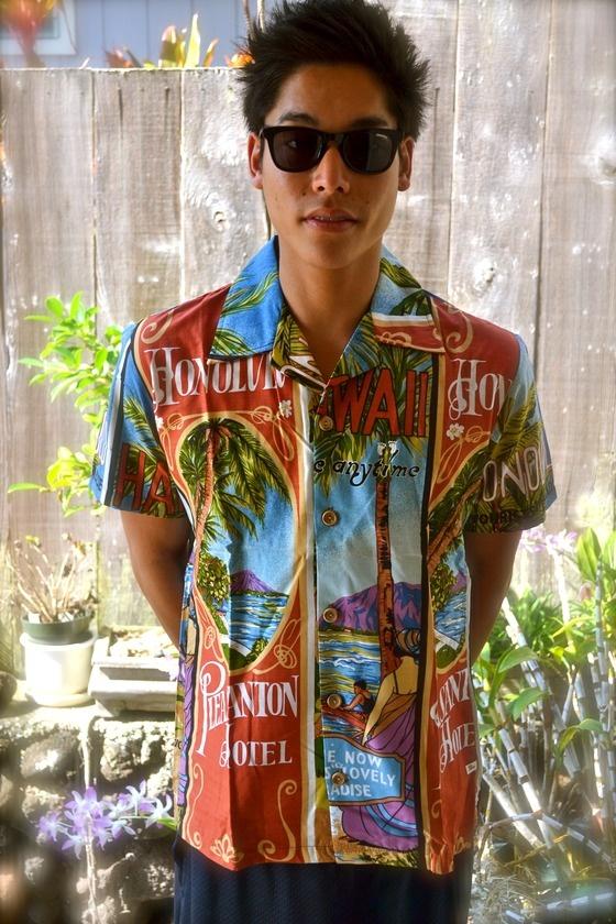 copious  hawaiian classic 1960s vintage mens hang ten 8 aloha shirt