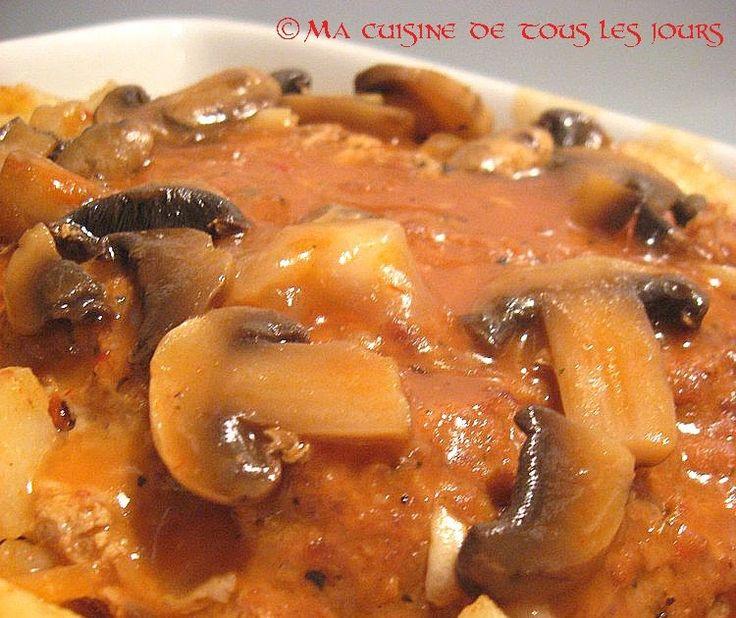 Ma cuisine de tous les jours: Pain de viande au poulet, sauce aux champignons