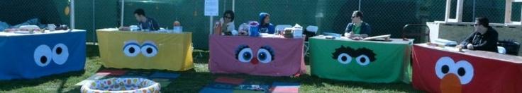 Table skirts, Cookie Monster, Big Bird, Abby Cadabby, Oscar and Elmo