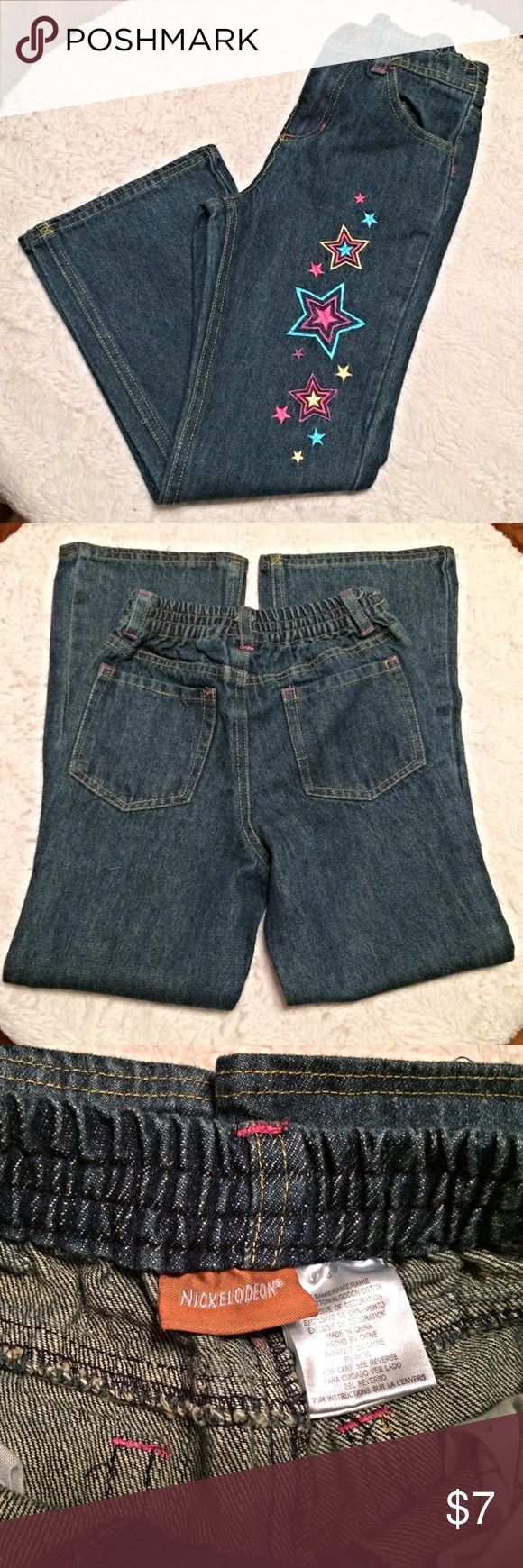 Nickelodeon Girls Star Jeans Girls size 6 jeans. Elastic waist band. Features pink, blue and yellow stars. Nickelodeon Bottoms Jeans