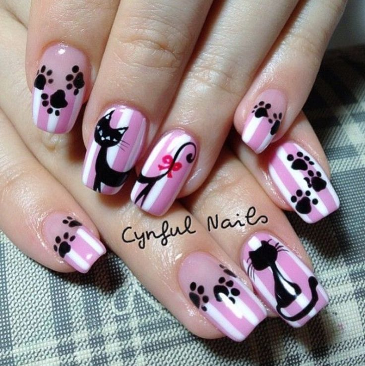 Best 20+ Cat Nail Art Ideas On Pinterest | Cat Nails, Kitty Nails And Cat  Nail Designs