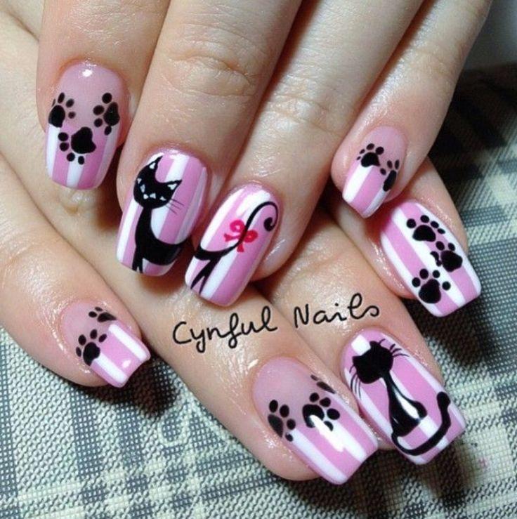 Best 25+ Cat nail art ideas on Pinterest | Cat nails, Kitty nails and Cat  nail designs - Best 25+ Cat Nail Art Ideas On Pinterest Cat Nails, Kitty Nails