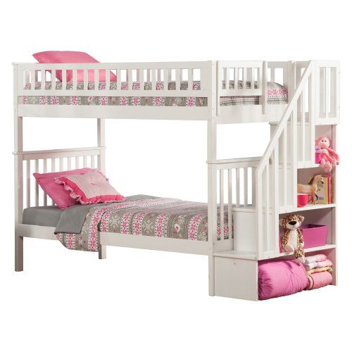 Woodland Twin over Twin Staircase Bunk Bed - Bunk Beds & Loft Beds at Hayneedle