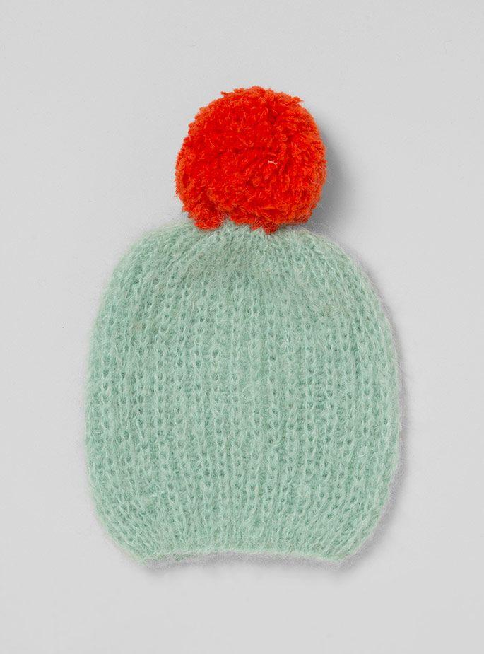 Bommelmütze, gestrickt, knitted, mint grün, rot - winter