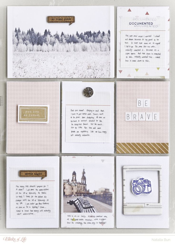 Scrapbook LO by Natalia Bun. I don't scrapbook divided pages, but there is lot to like (but for a 12 x 12 page.)