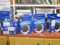 O.R.E.O PROJECT....mean, median, mode, range. Stuents stack up OREOS as high as they can without toppling.  Record the data for each student in their Math journals.  Write definitions of Mean, Median, Mode and Range in the journals, then use the data to find each one.