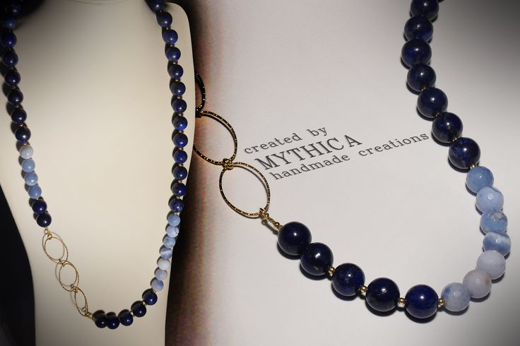 Handmade necklace by MYTHICA! Summer colours with lapis and agate beads! Follow us on facebook:mythica handmade creations  Official site:www.mythica.gr
