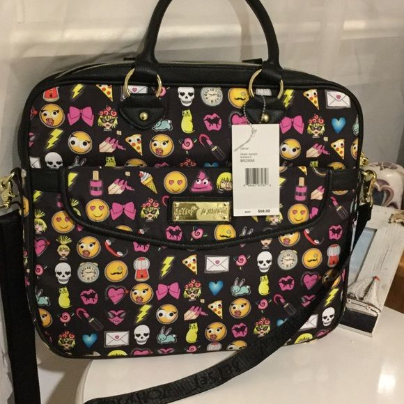 Betsey Johnson emoji laptop bag Front pocket laptop tote. It has different emojis on it. The main color is black. It's 14in high. 15in across. And 2 in wide. It has a hand strap and a should strap. Very cute and unique. It has gold zippers with a gold name plate and a gold heart zipper topper. It also says Betsey Johnson Betsey Johnson Bags Laptop Bags