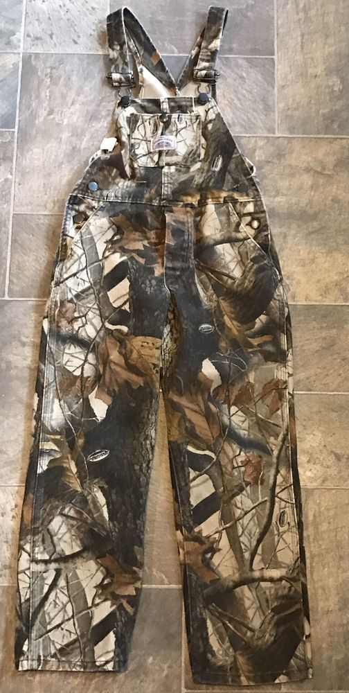 ROUND HOUSE Realtree Hardwood Camo Hunting Bibs Kids Boys Overalls Size 10 #ROUNDHOUSE