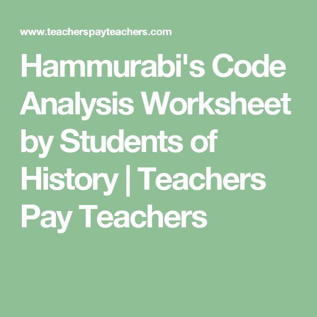 hammurabi 39 s code analysis worksheet student history teachers and teacher pay teachers. Black Bedroom Furniture Sets. Home Design Ideas
