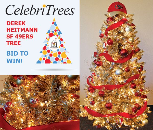 Go for long with the Derek Heitmann San Francisco 49ers tree!  Talk about Fantasy Football! This 5' tree is just bursting at the seams with San Francisco 49ers team spirit. Glittering in champagne gold with bursts of red ornaments and 49ers-themed decorations, it is the ultimate tree for a 49ers Faithful. The highest bidder not only scores the tree, but also two (2) holiday-week tickets to the 49ers Sunday Night Football home game on December 20 versus the Bengals & more!