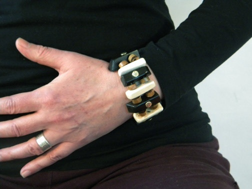 bracelet from recycled piano keys