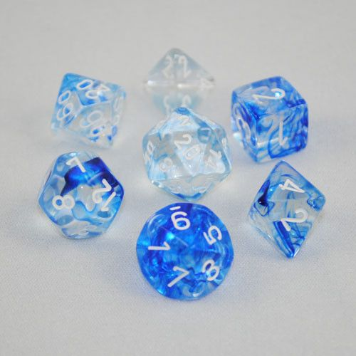 Set of 7 Chessex Nebula Dark Blue/white RPG Dice                                                                                                                                                                                 Mais