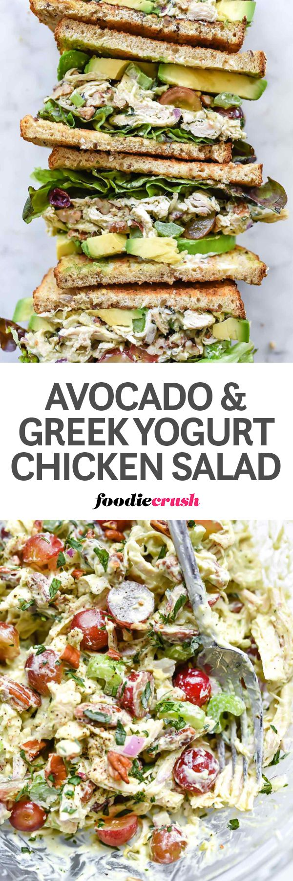 This traditional chicken salad recipe is lightened up with Greek nonfat yogurt and creamy mashed avocado for an added boost of protein plus good for you fats that make this salad so tasty no one will ever miss the mayo. | foodiecrush.com | chicken salad recipe | greek yogurt | avocado sauce