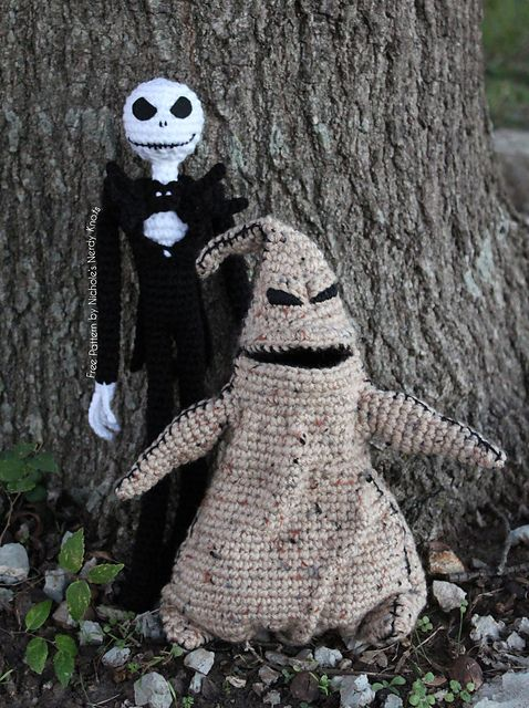 """Jack Skellington Doll from """"Nightmare Before Christmas"""" (12.5 inches tall) - Free Amigurumi Crochet Pattern - PDF File - Click """"download"""" or """"free Ravelry download"""" here: http://www.ravelry.com/patterns/library/jack-skellington-3 Oogie Boogie Free Pattern here: http://www.ravelry.com/patterns/library/oogie-boogie"""