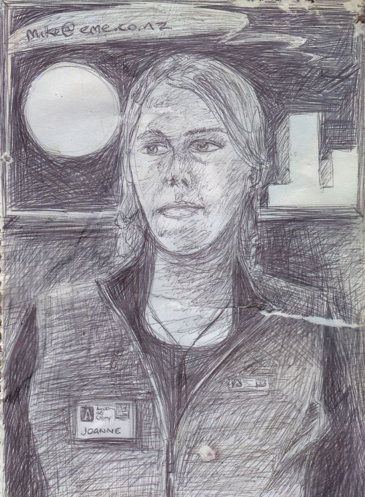 Joanne, I know this cause is I drew her name tag. Quick sketch with Biro pen.
