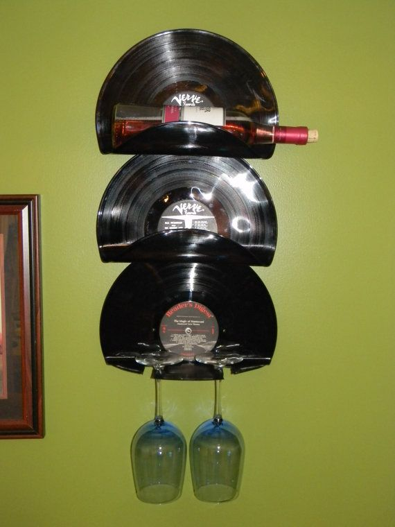 Wall Mounted Vinyl Record Wine Rack and Wine by HandmadeMolly, $35.00
