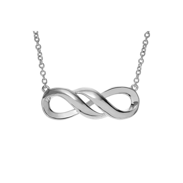 Women's Journee Collection Rhodium Finish Infinity Pendant Necklace in Sterling Silver - Silver (17)