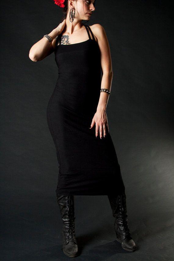 Tea Length Black Tube Dress Strappy Back by wingsofsin on Etsy